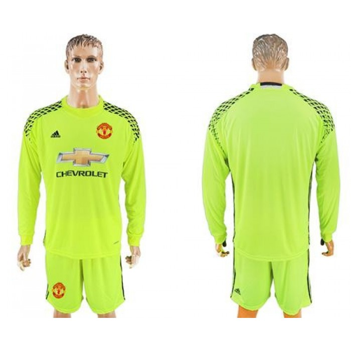 Manchester United Blank Shiny Green Goalkeeper Long Sleeves Soccer Club Jersey