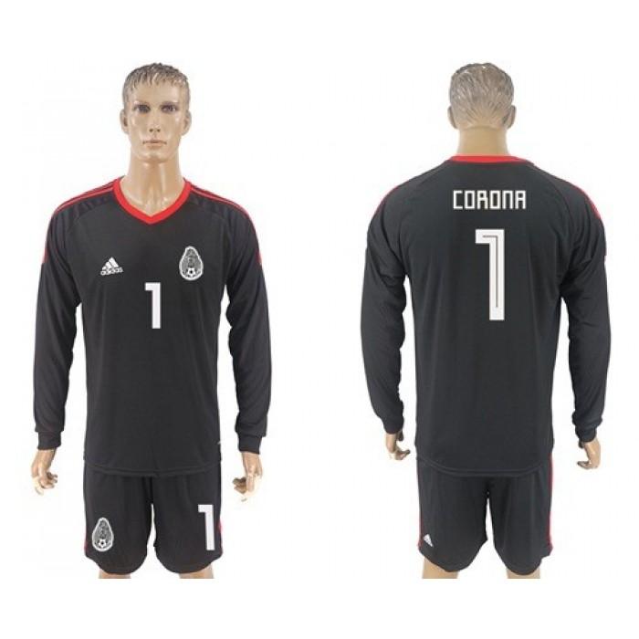 Mexico #1 Corona Black Long Sleeves Goalkeeper Soccer Country Jersey