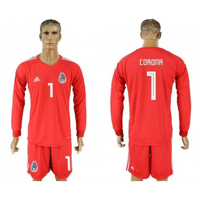 Mexico #1 Corona Red Long Sleeves Goalkeeper Soccer Country Jersey