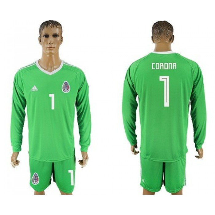 Mexico #1 Corona Shiny Green Long Sleeves Goalkeeper Soccer Country Jersey