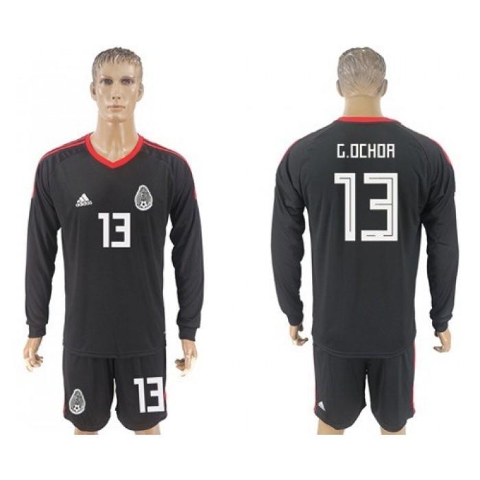 Mexico #13 G.Ochoa Black Long Sleeves Goalkeeper Soccer Country Jersey