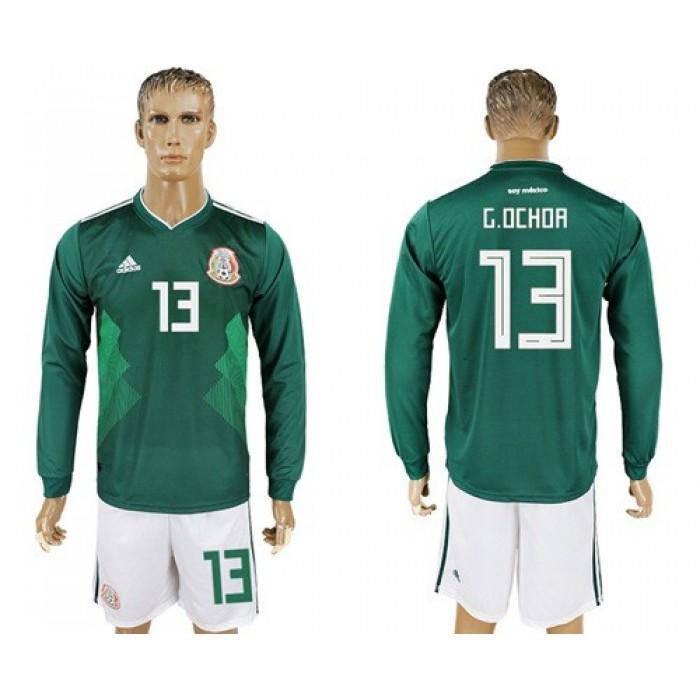 Mexico #13 G.Ochoa Home Long Sleeves Soccer Country Jersey
