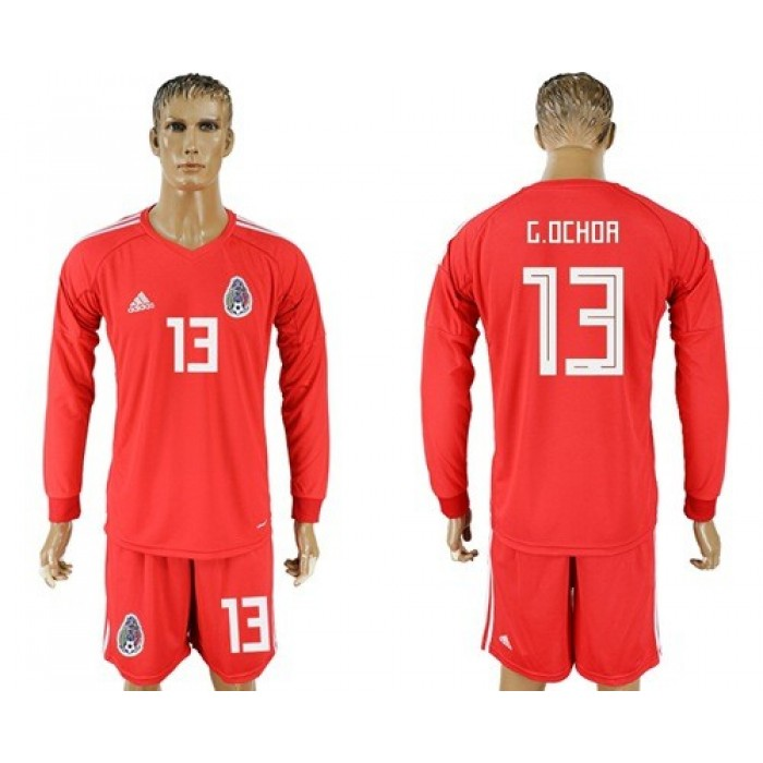 Mexico #13 G.Ochoa Red Long Sleeves Goalkeeper Soccer Country Jersey