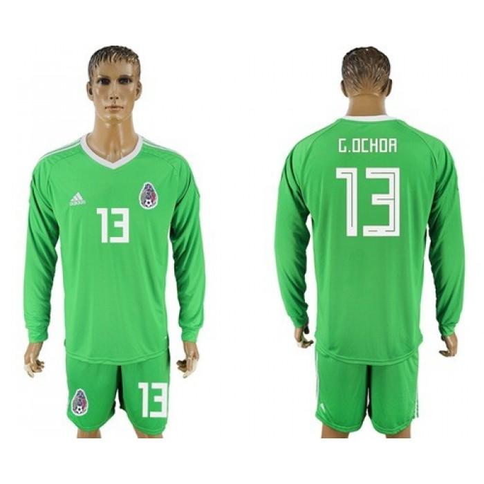 Mexico #13 G.Ochoa Shiny Green Long Sleeves Goalkeeper Soccer Country Jersey