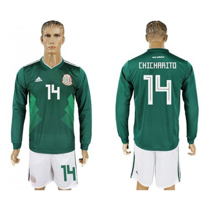 Mexico #14 Chicharito Home Long Sleeves Soccer Country Jersey