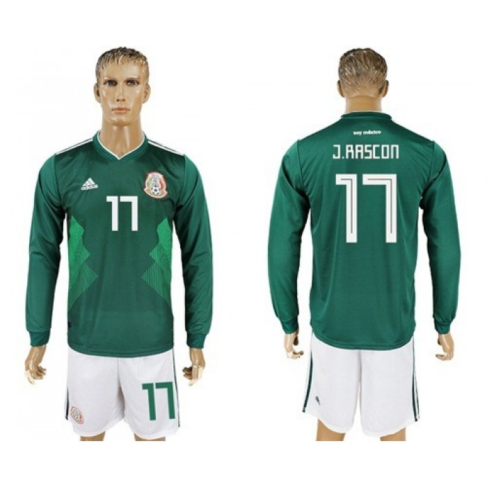 Mexico #17 J.Rascon Home Long Sleeves Soccer Country Jersey