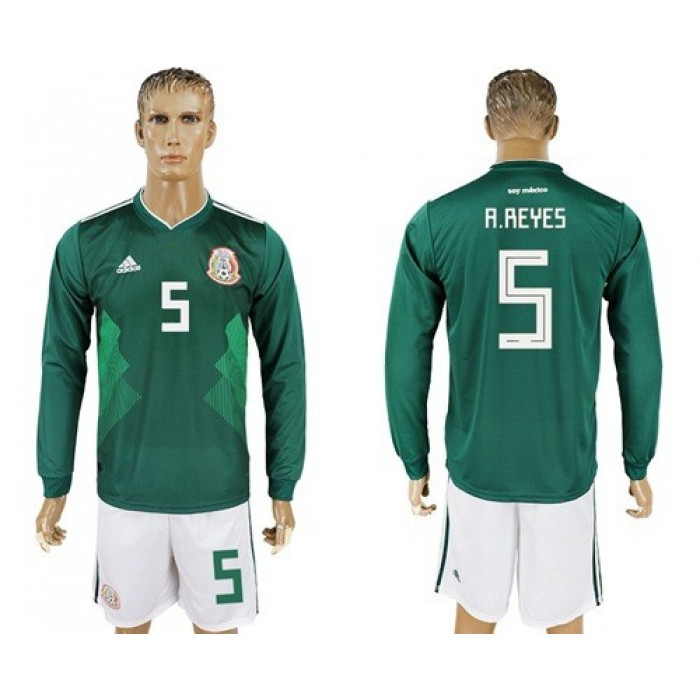 Mexico #5 A.Reyes Home Long Sleeves Soccer Country Jersey