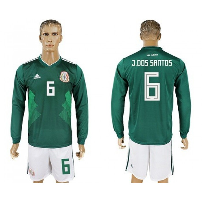 Mexico #6 J.Dos Santos Home Long Sleeves Soccer Country Jersey