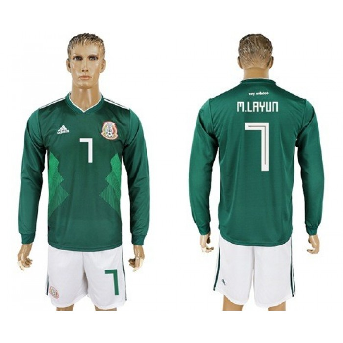 Mexico #7 M.Layun Home Long Sleeves Soccer Country Jersey