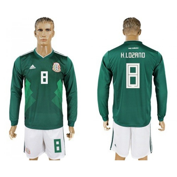 Mexico #8 H.Lozano Home Long Sleeves Soccer Country Jersey
