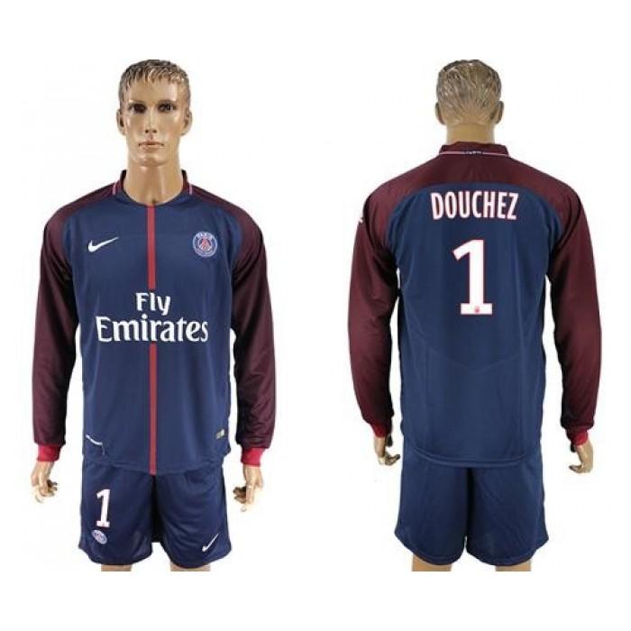 Paris Saint-Germain #1 Douchez Home Long Sleeves Soccer Club Jersey