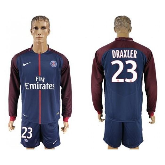 Paris Saint-Germain #23 Draxler Home Long Sleeves Soccer Club Jersey