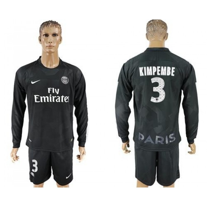 Paris Saint-Germain #3 Kimpembe Sec Away Long Sleeves Soccer Club Jersey