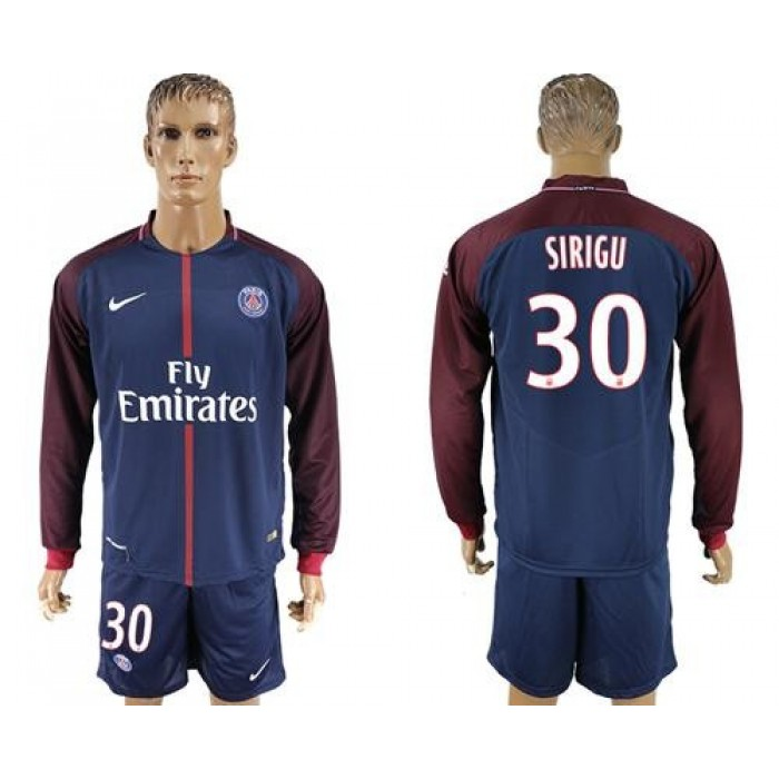 Paris Saint-Germain #30 Sirigu Home Long Sleeves Soccer Club Jersey