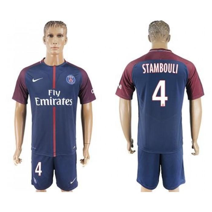 Paris Saint-Germain #4 Stambouli Home Soccer Club Jersey