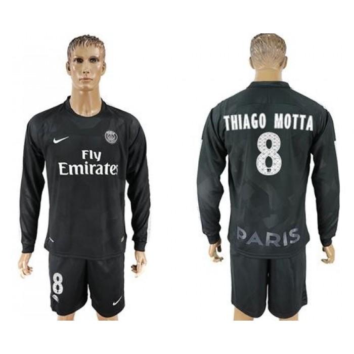 Paris Saint-Germain #8 Thiago Motta Sec Away Long Sleeves Soccer Club Jersey