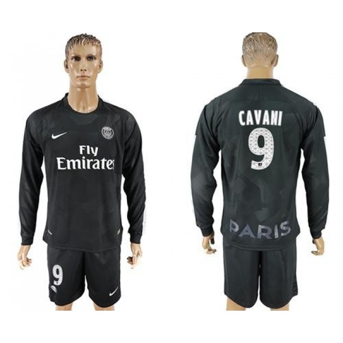 Paris Saint-Germain #9 Cavani Sec Away Long Sleeves Soccer Club Jersey