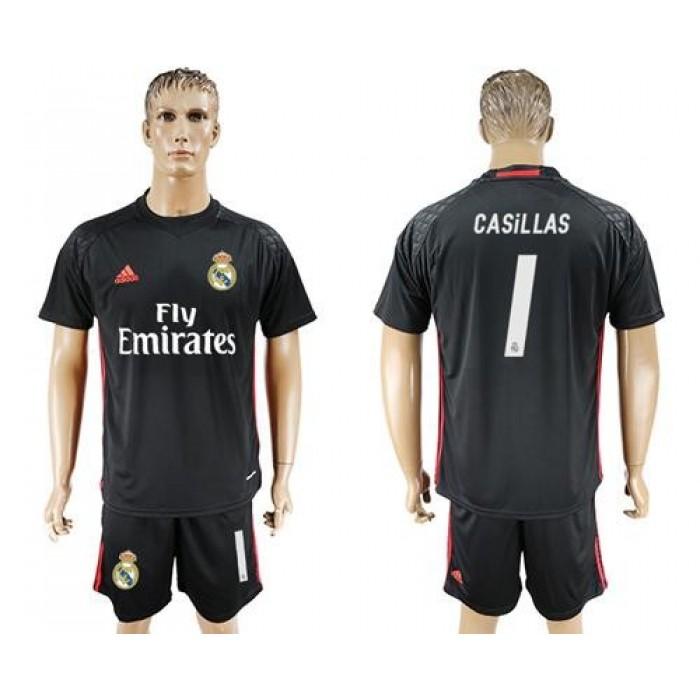 Real Madrid #1 Casillas Black Goalkeeper Soccer Club Jersey