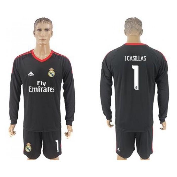 Real Madrid #1 I Casillas Black Goalkeeper Long Sleeves Soccer Club Jersey