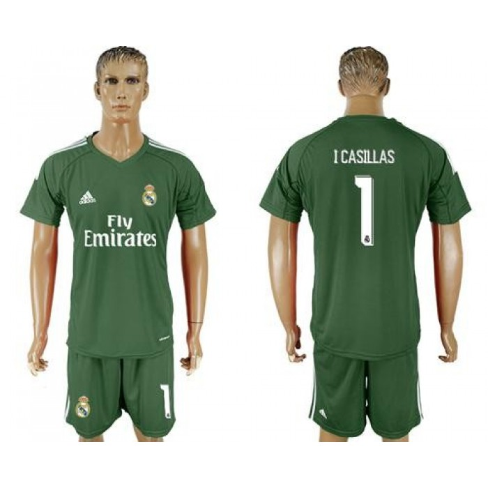 Real Madrid #1 I Casillas Green Goalkeeper Soccer Club Jersey