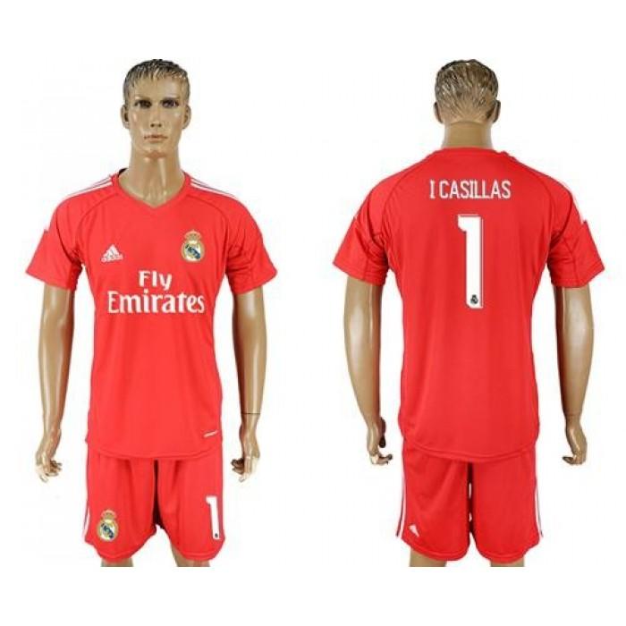 Real Madrid #1 I Casillas Red Goalkeeper Soccer Club Jersey
