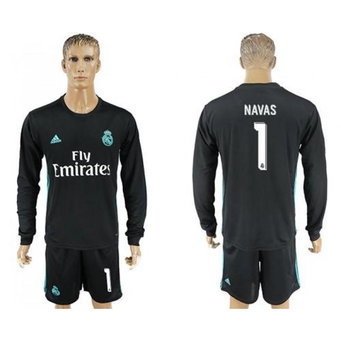 Real Madrid #1 Navas Away Long Sleeves Soccer Club Jersey