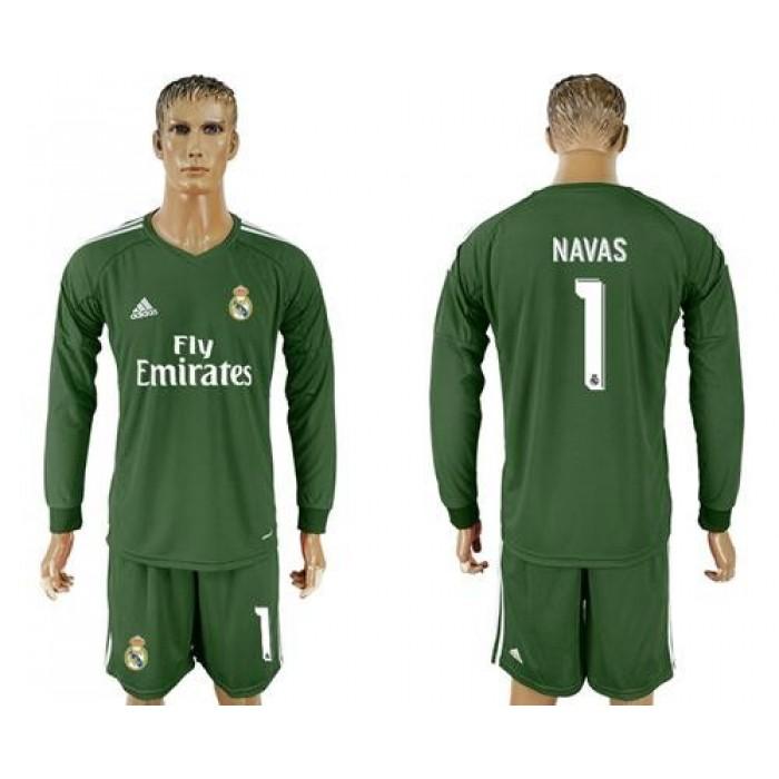 Real Madrid #1 Navas Green Goalkeeper Long Sleeves Soccer Club Jersey