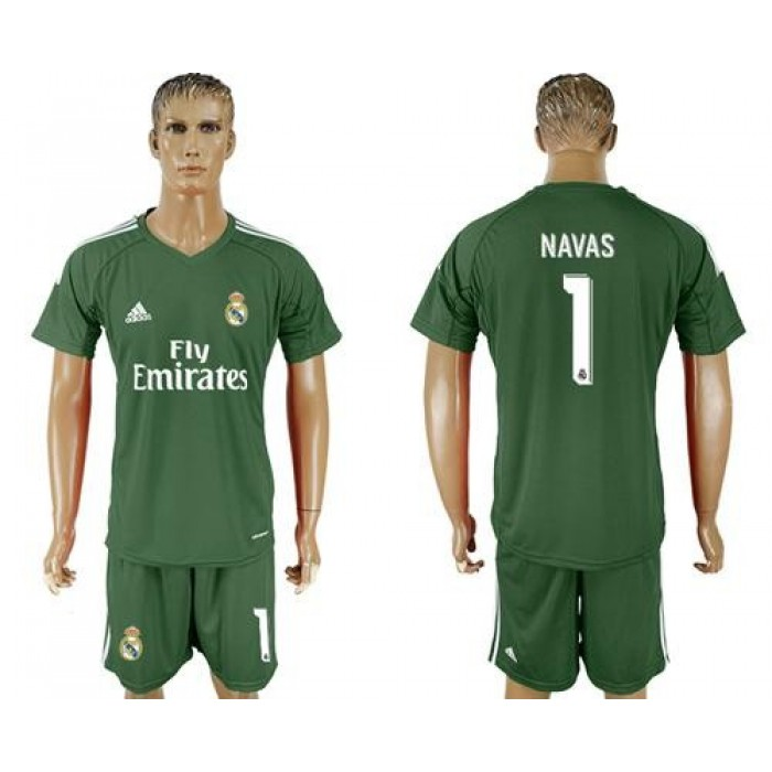 Real Madrid #1 Navas Green Goalkeeper Soccer Club Jersey