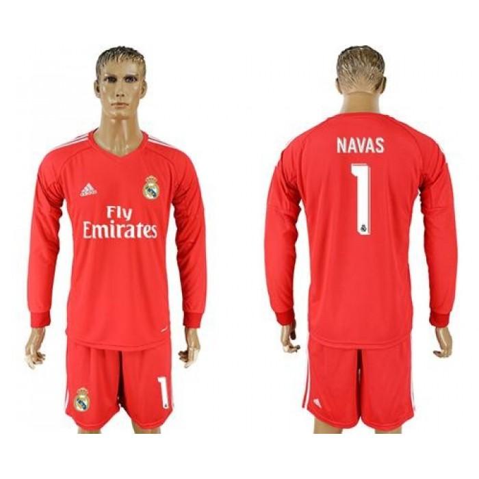 Real Madrid #1 Navas Red Goalkeeper Long Sleeves Soccer Club Jersey