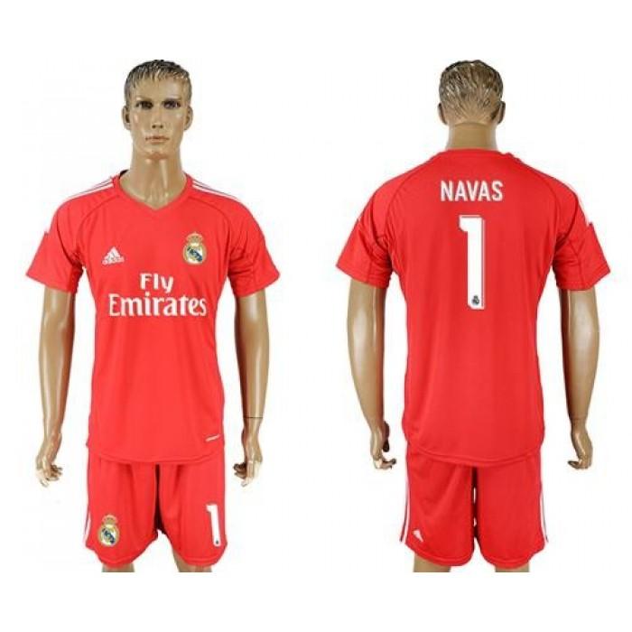 Real Madrid #1 Navas Red Goalkeeper Soccer Club Jersey