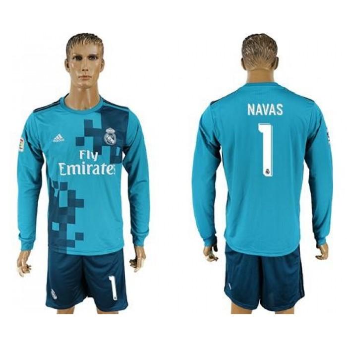 Real Madrid #1 Navas Sec Away Long Sleeves Soccer Club Jersey