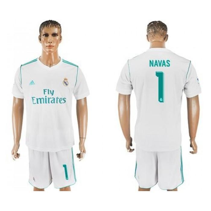 Real Madrid #1 Navas White Home Soccer Club Jersey