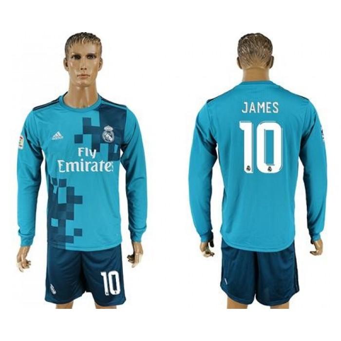 Real Madrid #10 James Sec Away Long Sleeves Soccer Club Jersey