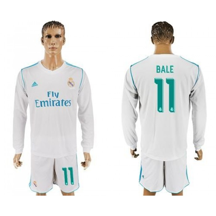 Real Madrid #11 Bale White Home Long Sleeves Soccer Club Jersey