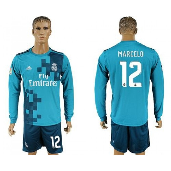 Real Madrid #12 Marcelo Sec Away Long Sleeves Soccer Club Jersey