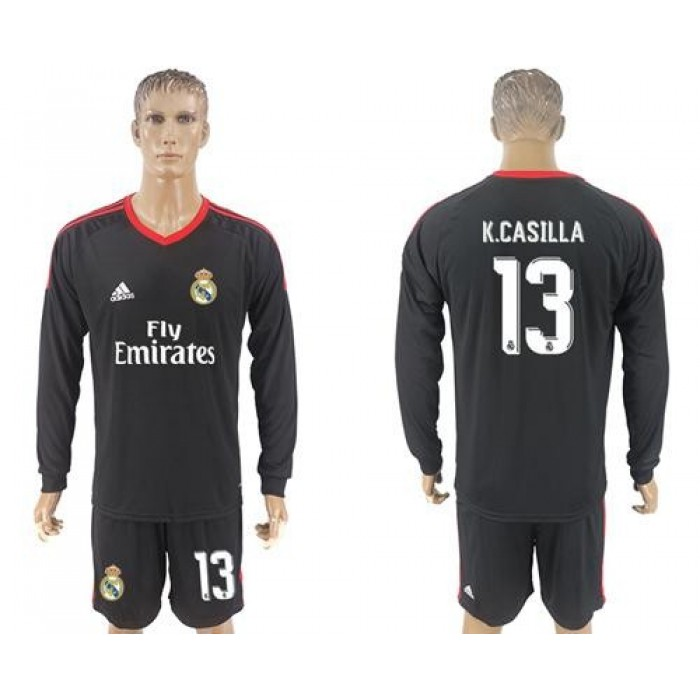 Real Madrid #13 K.Casilla Black Goalkeeper Long Sleeves Soccer Club Jersey