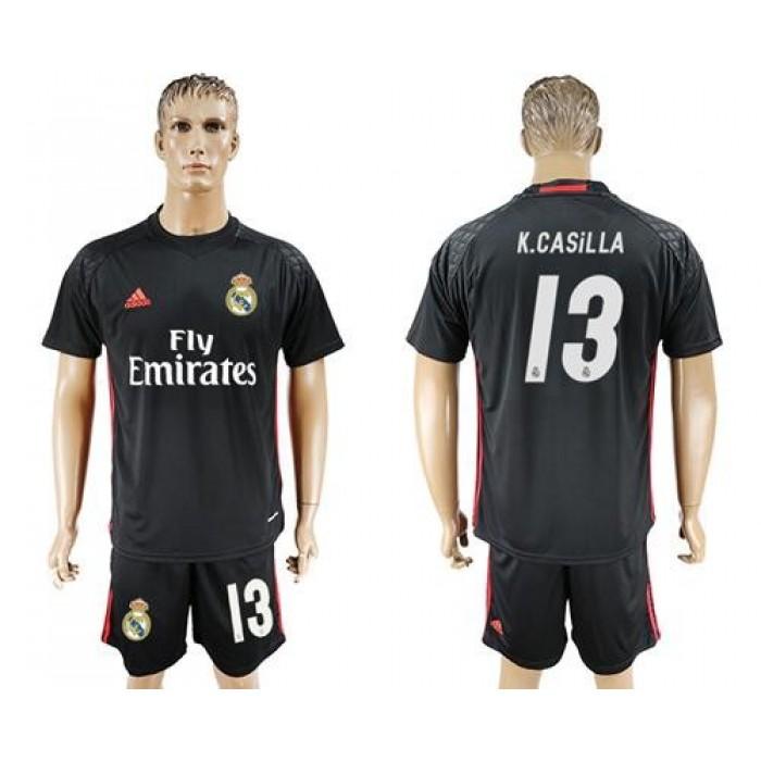 Real Madrid #13 K.Casilla Black Goalkeeper Soccer Club Jersey