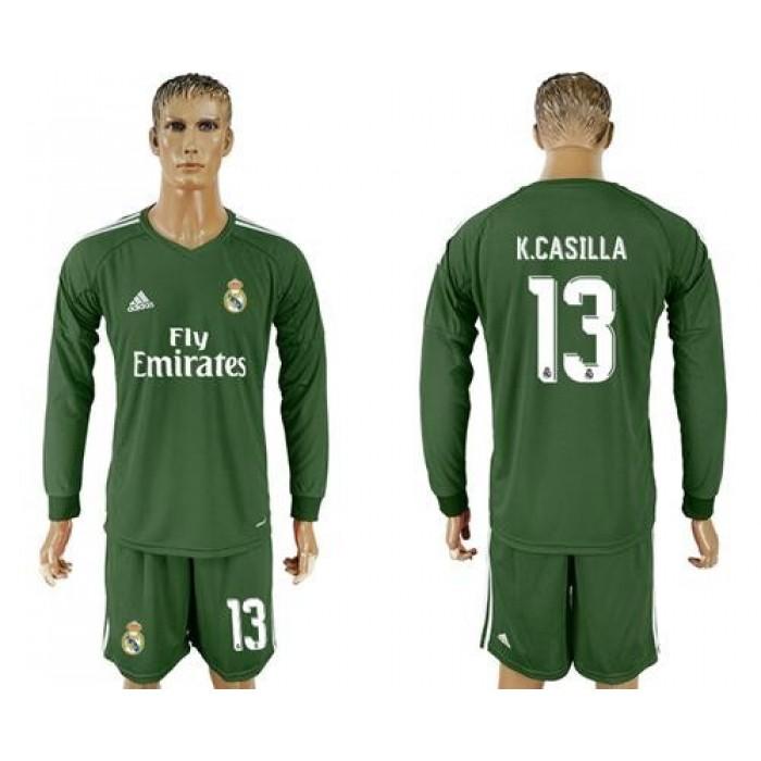 Real Madrid #13 K.Casilla Green Goalkeeper Long Sleeves Soccer Club Jersey