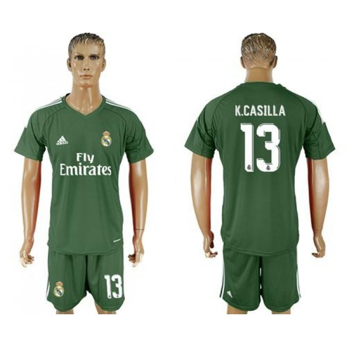 Real Madrid #13 K.Casilla Green Goalkeeper Soccer Club Jersey
