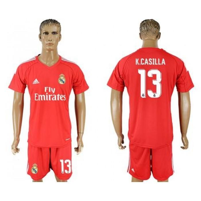 Real Madrid #13 K.Casilla Red Goalkeeper Soccer Club Jersey