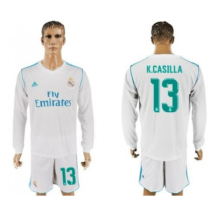 Real Madrid #13 K.Casillas White Home Long Sleeves Soccer Club Jersey