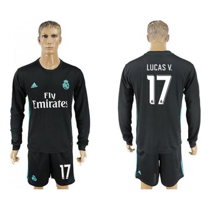 Real Madrid #17 Lucas.V Away Long Sleeves Soccer Club Jersey