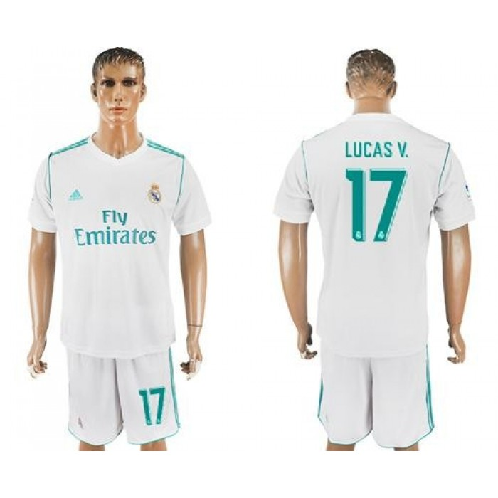 Real Madrid #17 Lucas V. White Home Soccer Club Jersey