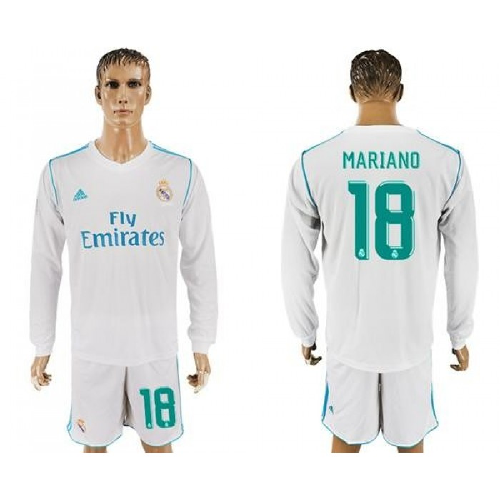Real Madrid #18 Mariano White Home Long Sleeves Soccer Club Jersey