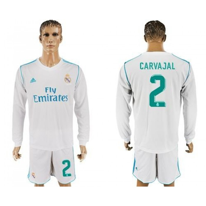 Real Madrid #2 Carvajal White Home Long Sleeves Soccer Club Jersey