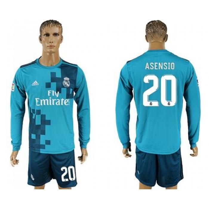 Real Madrid #20 Asensio Sec Away Long Sleeves Soccer Club Jersey