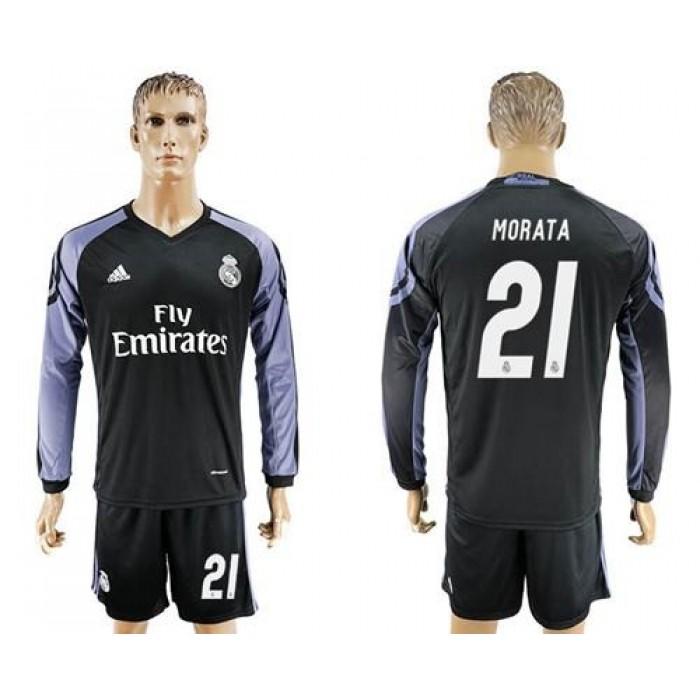 Real Madrid #21 Morata Sec Away Long Sleeves Soccer Club Jersey