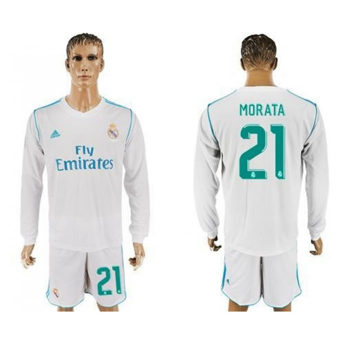 Real Madrid #21 Morata White Home Long Sleeves Soccer Club Jersey