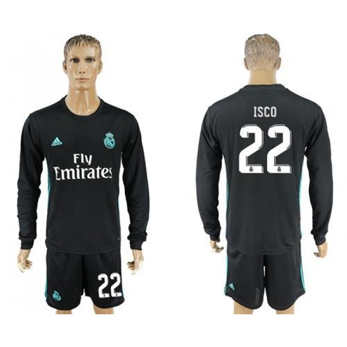 Real Madrid #22 Isco Away Long Sleeves Soccer Club Jersey