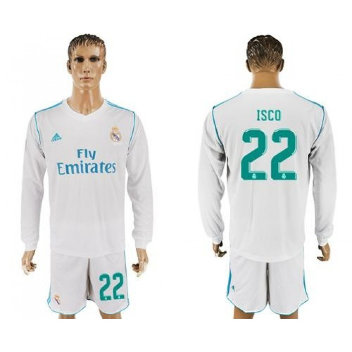 Real Madrid #22 Isco White Home Long Sleeves Soccer Club Jersey